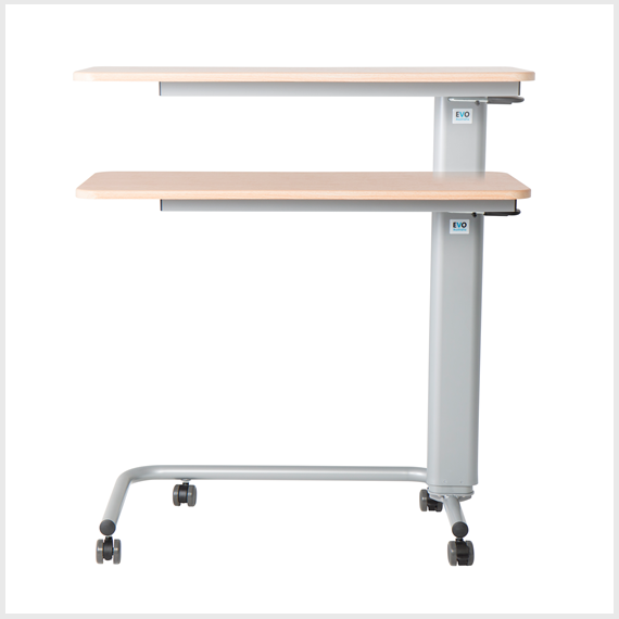 Gas adjustable overbed tables
